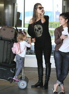 Alessandra Ambrosio - Alessandra Ambrosio And Daughter Anja Arriving On A Flight At LAX