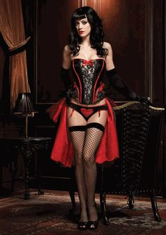Leg Avenue Burlesque Lingerie - Black & Red Raven Corset with Support Boning and Side Zipper