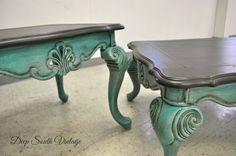 Incredible vintage coffee table with matching end table. Re-finished by Deep South Vintage. Painted in Miss Lillian's No Wax Chalk Paint. See more unique pieces at www.facebook.com/deepsouthrecreations. by Shannon Stein