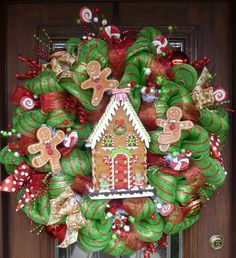 pictures+of+gingerbread+deco+mesh+christmas+wreaths | 32 Deluxe Deco Mesh GINGERBREAD HOUSE CHRISTMAS by decoglitz