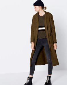 Pull&Bear - woman - new - clothing - long coat - khaki - 09750306-I2016