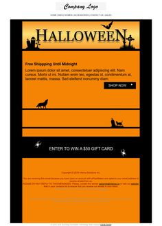 Halloween 2 - Email marketing flyer #Promotion #eCommerce #Shopping Email Marketing Design, Marketing Flyers, Halloween 2, Newsletter Templates, Lorem Ipsum, Ecommerce, Promotion, Company Logo, Design Inspiration