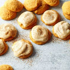 Classic flavors of cinnamon and nutmeg enhance these soft pumpkin cookies. Topped with homemade frosting and a sprinkling of cinnamon, the sweet treats become even more indulgent: http://www.bhg.com/thanksgiving/recipes/pumpkin-recipes/?socsrc=bhgpin092414pumpkincookies&page=17