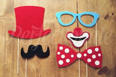5 Felt Circus Photo-Booth Props  Carnival Photo by Perfectionate