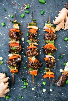 Glazed Asian Beef Kabobs- mouthwatering sweet and salty flavors and easy to make in the oven or on the grill! | Apple of My  eye.com.