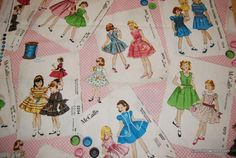 McCall Vintage McCalls Cotton Fabric Sewing Pattern Print SO COOL! Betsy McCall Cotton Fabric Quilting Fabric AB0123