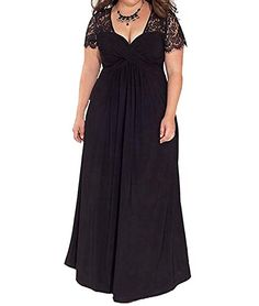 Duraplast Womens Lace Evening Dress Plus Size Maxi Dress Stretch US20W Black *** Visit the image link more details. Note:It is affiliate link to Amazon.