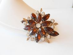 Rhinestone Brooch Vintage Amber Glass and by LittleBitsofGlamour