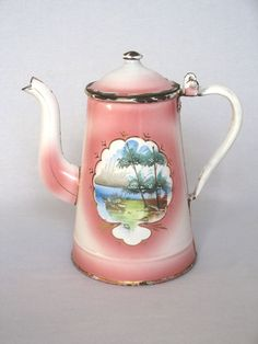 Early 1900s French Enamelware Pink Shaded Coffee Pot