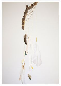 hanging feather installation
