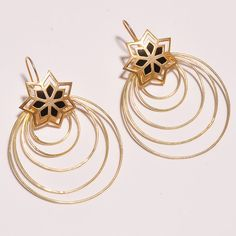 18 Cts.Vermeil Gold Plated Round Shape Handmade Designer Earring Jewelry ZA145…