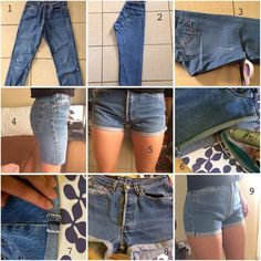 high waisted shorts tutorial from unpeutdetoutpol-e. high waisted shorts tutorial from unpeutdetoutpol-e. Diy Shorts, Pants To Shorts, Sewing Shorts, Diy Tumblr, Diy Clothes Videos, Clothes Crafts, Teens Clothes, Sewing Clothes, Shorts Outfits For Teens