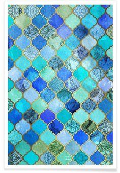 Cobalt Moroccan Tile Pattern als Premium poster | JUNIQE