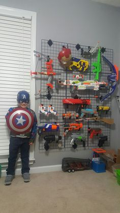 Nerf gun storage for ashtons playroom! Nerf Gun Storage, Nerf War, Kids Room Organization, Toy Rooms, New Room, Interior Design Living Room, Kids Bedroom, Playroom, Hooks
