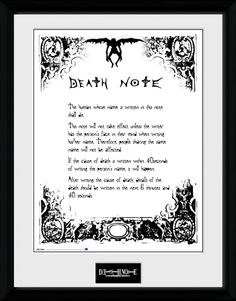 Death Note - Death Note - Big Framed Collector Print. 25mm Moulding. Shatter Proof Styrene. Official Merchandise. FREE SHIPPING