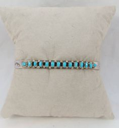 Signed Zuni Turquoise Needlepoint Sterling Silver Bracelet Cuff by Framarines on Etsy