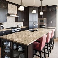 Browse our vast design palette to see how Cambria natural quartz countertops can add innovative style to any space. See our 20 brand new quartz designs. Cambria Quartz Countertops, Stone Countertops, Modern Kitchen Island, New Kitchen, Kitchen Islands, Kitchen Ideas, Design Palette, Home Remodeling, Kitchen Remodel