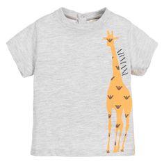 Armani Baby Boys Grey Giraffe T-Shirt at Childrensalon.com