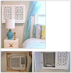 How To Build A Decorative Cover For A Window Air Conditioner . build a decorative box to go around your air conditioner . Ac Unit Cover, Window Unit, Bedroom Windows, Home Remodeling, Small Spaces, Diy Home Decor, Decor Crafts, Bedroom Decor, Bedroom Ideas