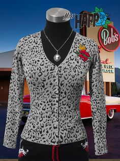 Rockabilly Leopard Cardigan with sacred heart by MissHapp on Etsy, $45.00