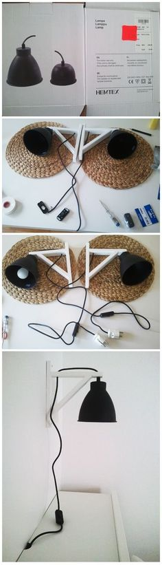 Wall-Hung Lamp DIY hanging wall lamp from ikea shelf holders hemtex ceiling lamps.DIY hanging wall lamp from ikea shelf holders hemtex ceiling lamps. Do It Yourself Inspiration, Diy Inspiration, Diy Luminaire, Apartment Needs, Shelf Holders, Diy Casa, Ikea Shelves, Ikea Shelf Hack, Creation Deco
