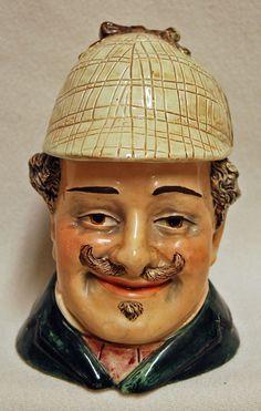 Rare Antique BERNARD BLOCH Ceramic Tobacco Jar Humidor Man Character Figural #BernardBloch