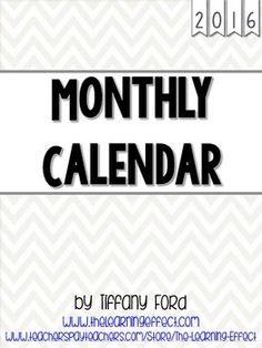 I use these calendars with students in my classroom. Each month, they receive a calendar to put in their organizational binder. They write down holidays, days off from school, important events, tests, etc.January 2016 - December 2016 included