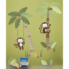 There is a lot of monkeying around in this Jungle scene wall decal. The decal is self-stick adhesive and easy to just peel and stick to walls without harming them.