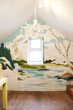 paint by number wall mural. Photocopy then turn into an overhead and trace on wall. Do It Yourself Baby, Wall Murals, Wall Art, Diy Wall Decor, Home Decor, Of Wallpaper, Number Wallpaper, Watercolor Wallpaper, Paint By Number
