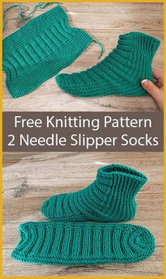 Free Knitting Pattern for Easy Two Needle Ribbed Slipper Socks - Slipper socks k. - Free Knitting Pattern for Easy Two Needle Ribbed Slipper Socks – Slipper socks knit flat in one p - Knit Slippers Free Pattern, Knitted Slippers, Slipper Socks, Knit Sock Pattern, Crochet Slipper Boots, Knitting Stitches, Knitting Socks, Knitting Patterns Free, Crochet Patterns