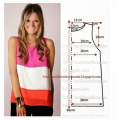 Free sewing pattern for a simple tank top. More free sewing patterns at… Sewing Patterns Free, Clothing Patterns, Dress Patterns, Diy Couture, Couture Sewing, Diy Clothing, Sewing Clothes, Fashion Sewing, Diy Fashion