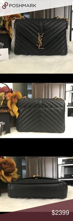 Saint Laurent college medium black gold hw bag Brand new never used! Comes with dust bag, cards and patch. Rare and sold out color and HW combination.    Retails $2450 excluding taxes.    From YSL Website:  DIMENSIONS 9.4 6.6 2.5 INCHES  100% LAMBSKIN  GROSGRAIN LINING  MAGNETIC SNAP CLOSURE  VINTAGE GOLD-TONED HARDWARE  EXTERIOR BACK SLOT POCKET  INTERIOR CENTRAL ZIP COMPARTMENT, 1 SLOT POCKET  HANDLE DROP: 6.5 CM  STRAP DROP: 55 CM Saint Laurent Bags Crossbody Bags