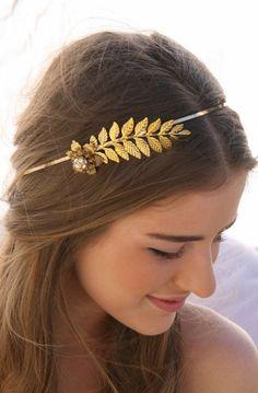 Grecian Gold Metal Leaf and Flower Headband with Rhinestones Gold Wedding Headpiece