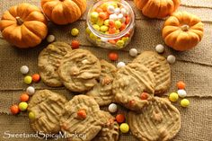 Soft & Chewy Peanut Butter Cookies with Candy Corn M&M's #peanutbutterrecipes   #cookierecipes   #cookies   #candycorn   #sweetandspicymonkey