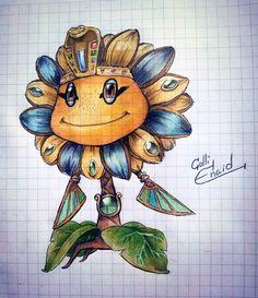 Sun pharaoh (pvz Garden Warfare) by ColliEnaid on DeviantArt Arte Zombie, Zombie 2, Plants Vs Zombies Drawing, Sunflower Coloring Pages, Plantas Versus Zombies, Pikachu, Pokemon, Dragon City, Cupcake Art