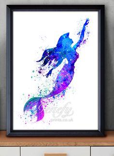 Disney Ariel Little Mermaid Watercolor Painting Art Poster Print Wall Decor https://www.etsy.com/shop/genefyprints