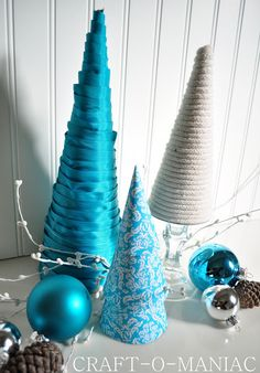 DIY:: Ribbon, Damask & Nautical Rope Christmas Tree Cones (Easy How 2's)
