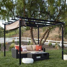 Sun Shade Canopy, Outdoor Pergola, Pergola Canopy, Backyard Patio, Backyard Ideas, Garden Ideas, Steel Canopy, Fabric Canopy, Canopy Cover
