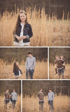 teenage brothers with younger sister in dried grass