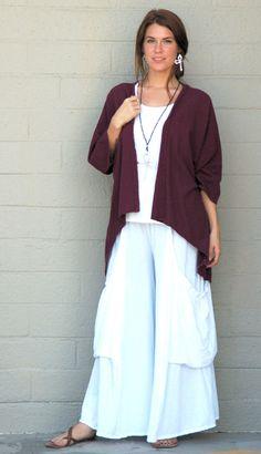 Oh My Gauze Cotton Cisne Longer Back Open Jacket Top OS M L XL 1x 2X Burgundy   eBay