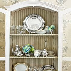 I think we need to go for the idea we talked about yesterday for your dining room, what do you think? In the China Cabinet - Small Space Organizing Tips - Southern Living Small China Cabinet, China Cabinet Display, Cabinet Decor, Hutch Display, Kitchen Display, Cabinet Ideas, Small Space Organization, Organization Hacks, Organizing Tips