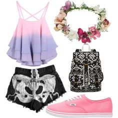 pastel by courtneyhall949 on Polyvore featuring polyvore fashion style Vans SM New York Topshop