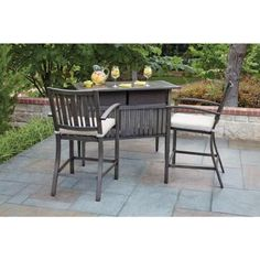 Woodard, Lancaster 3-Piece Aluminum Wood Look Patio Bar Set, RXAC-406-SET at The Home Depot - Tablet