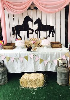 Pinvalerie Vargas On Maddy's Birthday Rodeo Birthday Parties, Horse Theme Birthday Party, Rodeo Party, Farm Birthday, Cowgirl Party, Girl Horse Party, Birthday Ideas, Horse Party Decorations, Birthday Party Decorations