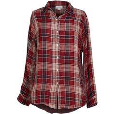 Velvet by Graham and Spencer Yana Long Sleeve Button Up Top ($100) ❤ liked on Polyvore featuring tops, shirts, red, red plaid shirt, long sleeve plaid shirt, red shirt, plaid shirts and red striped shirt