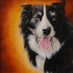 """Daily Paintworks - """"Border Collie commission"""" by Karen Robinson"""