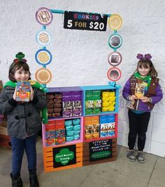 Girl Scout Cookie Booth using crates