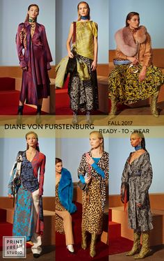 Fall 2017 Ready-to-wear Runway Print & Pattern Trends- Diane Von Furstenburg Images: vogue.com mixed prints, leopard print, geometric prints, yellow, flat graphic floral dress, royal blue,stripe prints
