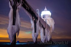 Wow! A fearsome ice king! Outer lighthouse in St. Joseph, Michigan last Friday night. Photo credit: Joshua Nowicki