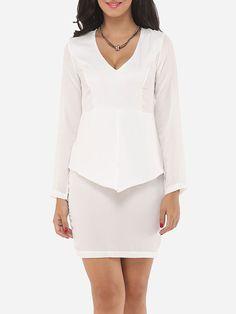 V Neck Dacron Plain Bodycon Dress